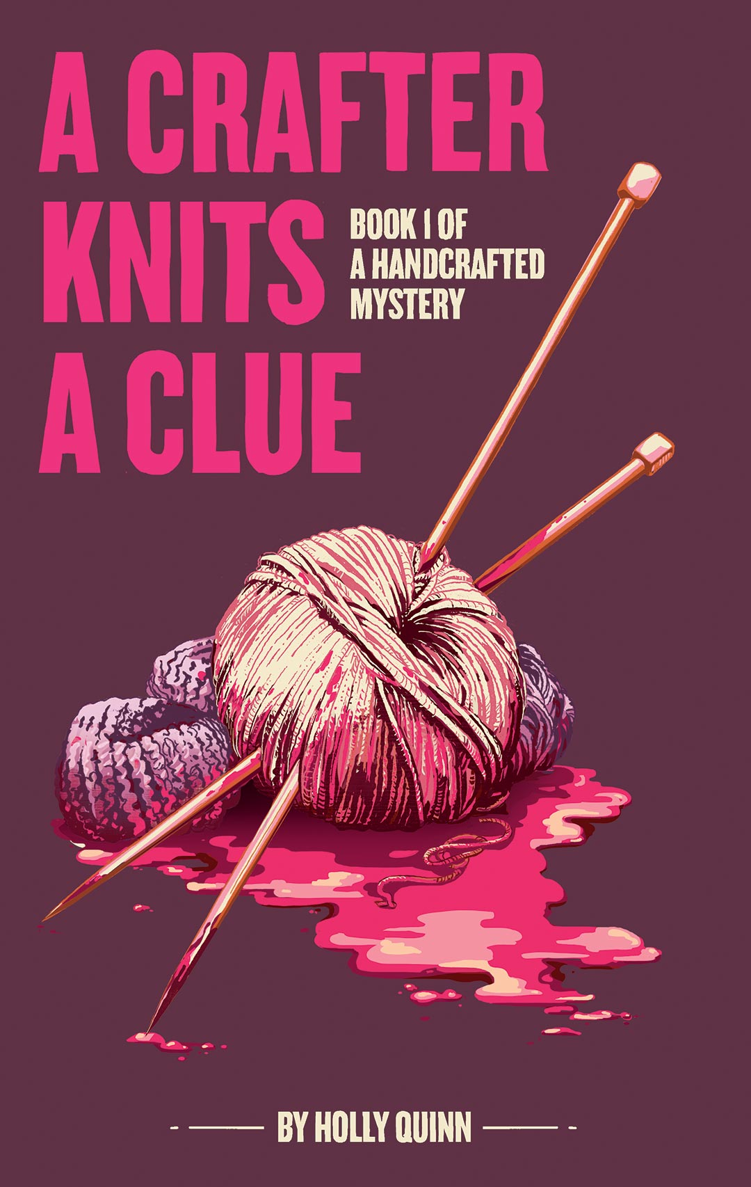 A Crafter Knits A Clue, Book Cover Art | Jacqui Oakley Illustration | Harlequin Book